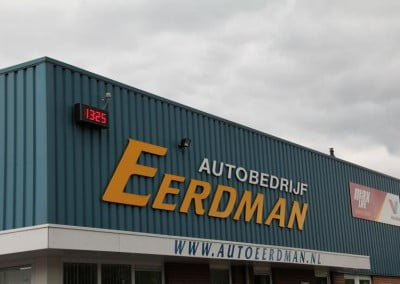 Tijd temp display Autobedrijf Eerdman